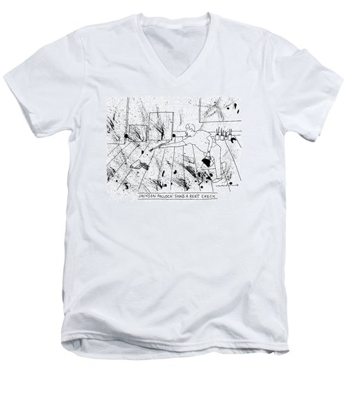An Artist, Presumable Jackson Pollock, Reaches Men's V-Neck T-Shirt