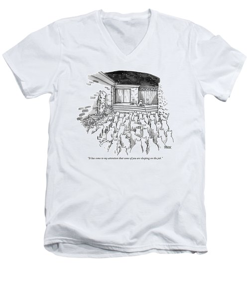 An Assembly Of Cats In A Backyard Led By Three Men's V-Neck T-Shirt