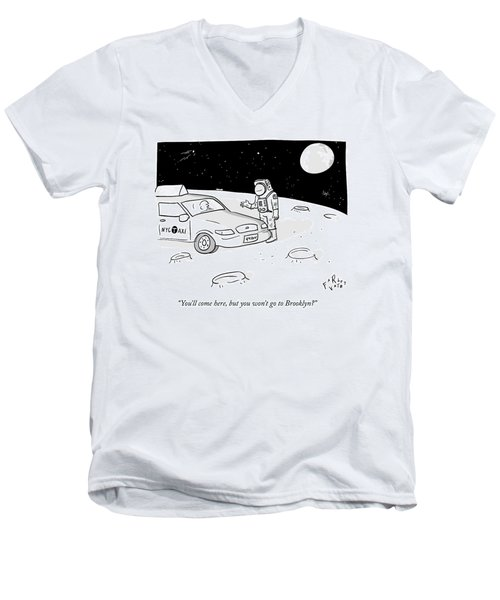An Astronaut Says To A Taxi Cab On The Moon Men's V-Neck T-Shirt