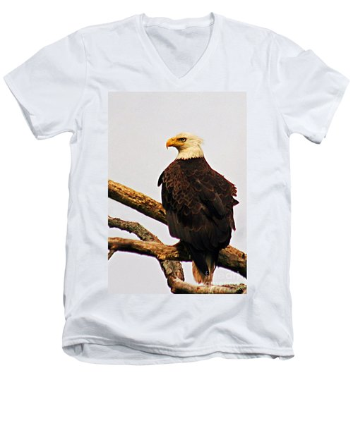 Men's V-Neck T-Shirt featuring the photograph An Eagle's Perch by Polly Peacock
