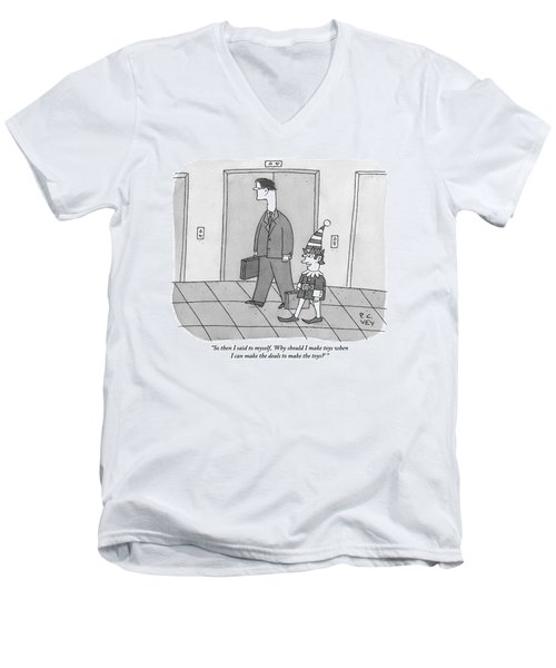 An Elf Carrying Briefcase Says To The Man Men's V-Neck T-Shirt