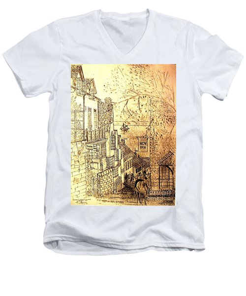 An English Fishing Village Men's V-Neck T-Shirt by Hazel Holland