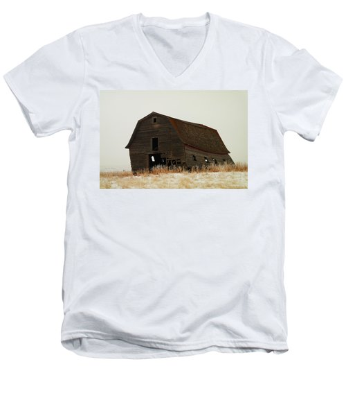An Old Leaning Barn In North Dakota Men's V-Neck T-Shirt by Jeff Swan