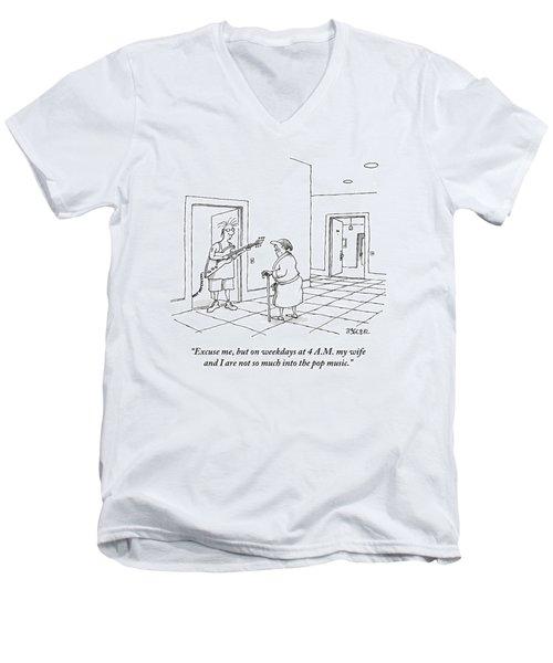 An Old Man In A Bathrobe Addresses A Young Man Men's V-Neck T-Shirt