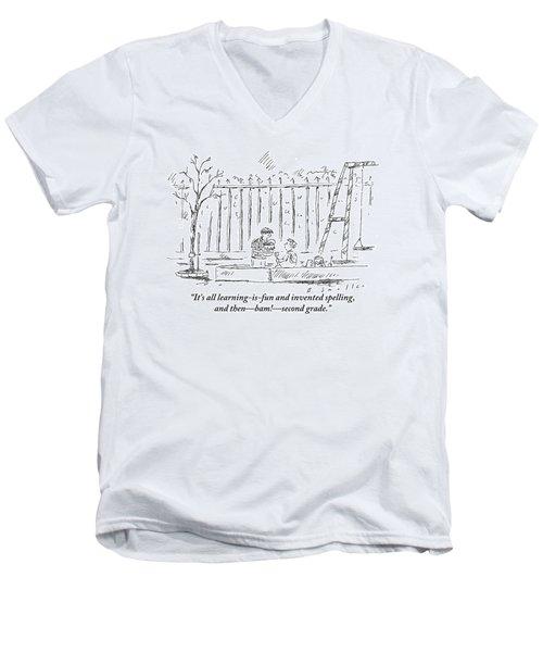 An Older Child Speaks To Younger Child Men's V-Neck T-Shirt