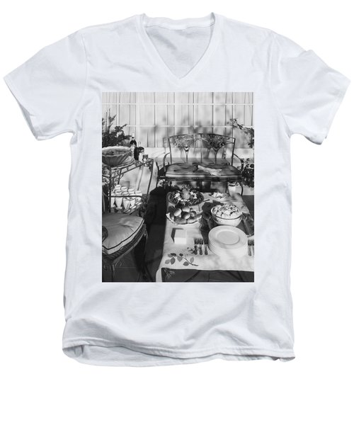 An Outdoor Dining Set Up Men's V-Neck T-Shirt