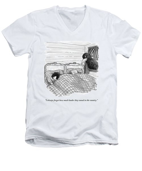 An Overly Large Bird Peers Into The Bedroom Men's V-Neck T-Shirt