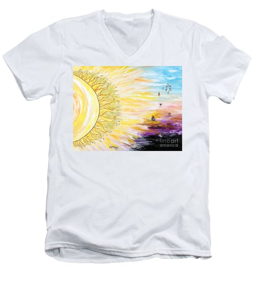 Anche Per Te Sorgera' Il Sole Men's V-Neck T-Shirt by Loredana Messina