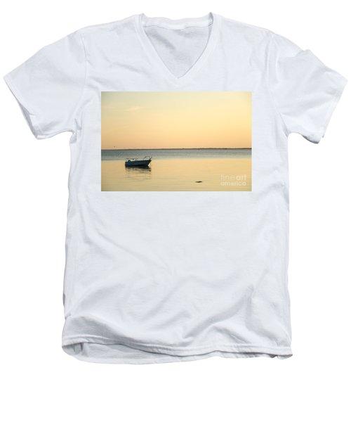 Men's V-Neck T-Shirt featuring the photograph Anchored  by Kennerth and Birgitta Kullman