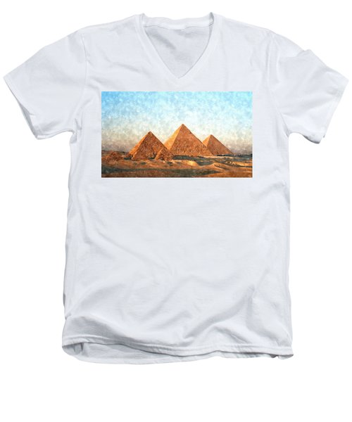 Ancient Egypt The Pyramids At Giza Men's V-Neck T-Shirt by Gianfranco Weiss