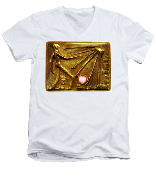 Sun God Worship  Men's V-Neck T-Shirt by Hartmut Jager