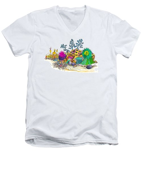 Men's V-Neck T-Shirt featuring the photograph Anemone Garden by Adria Trail
