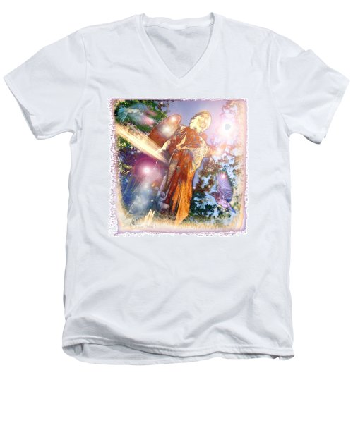 Men's V-Neck T-Shirt featuring the photograph Angel Light by Marie Hicks