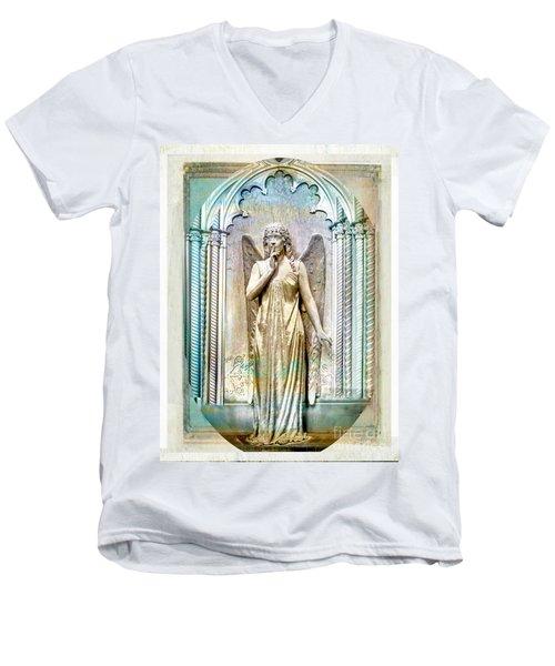 Angel Of Silence.genoa Men's V-Neck T-Shirt