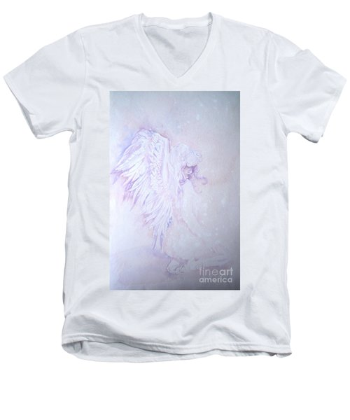 Men's V-Neck T-Shirt featuring the painting Angel by Sandra Phryce-Jones