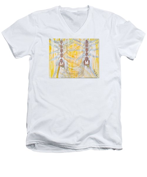 Angel Winds Flames Of Fire Men's V-Neck T-Shirt by Cassie Sears