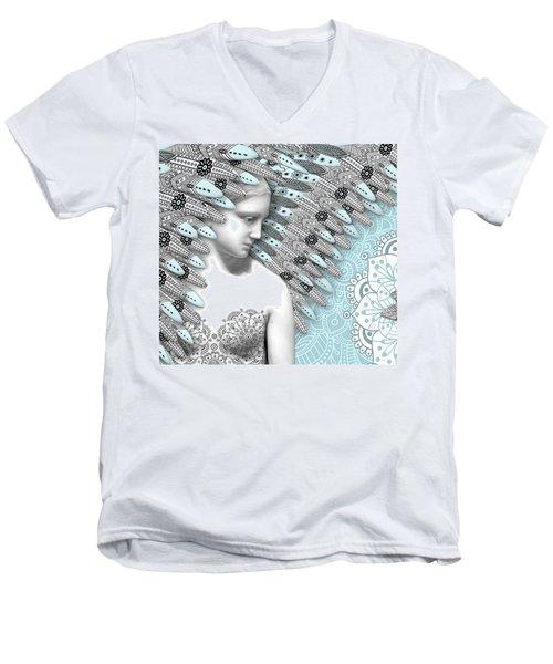 Angelica Hiberna - Angel Of Winter Men's V-Neck T-Shirt by Christopher Beikmann