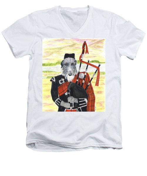 Angus The Piper Men's V-Neck T-Shirt