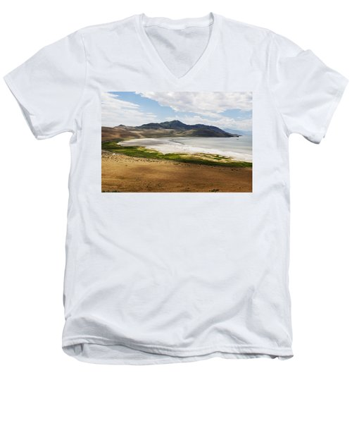 Men's V-Neck T-Shirt featuring the photograph Antelope Island by Belinda Greb