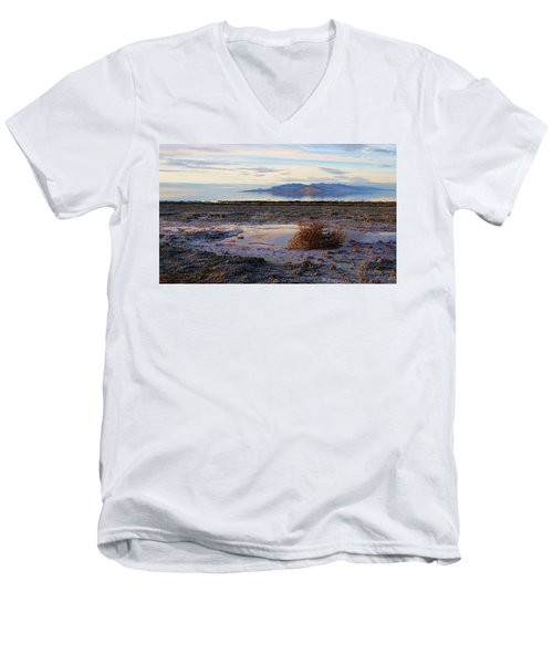 Men's V-Neck T-Shirt featuring the photograph Antelope Island - Tumble Weed by Ely Arsha