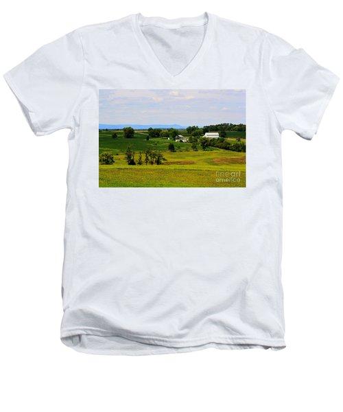 Antietam Battlefield And Mumma Farm Men's V-Neck T-Shirt by Patti Whitten