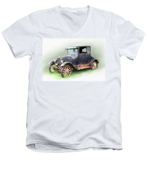 Men's V-Neck T-Shirt featuring the painting Antique Car by Bonnie Willis