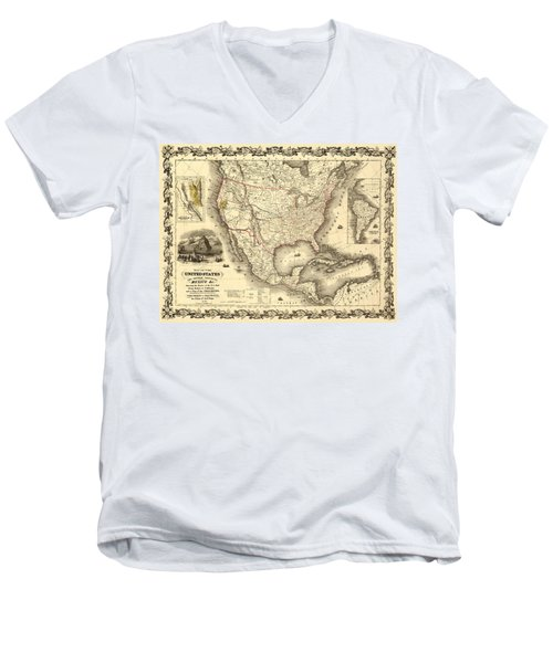 Antique North America Map Men's V-Neck T-Shirt