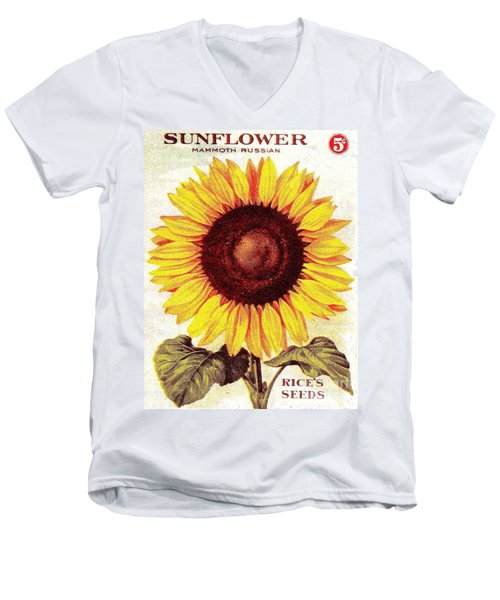 Men's V-Neck T-Shirt featuring the painting Antique Sunflower Seeds Pack by Peter Gumaer Ogden