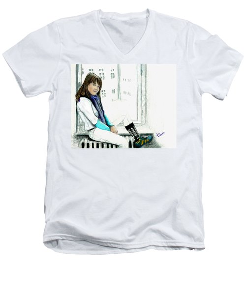 Men's V-Neck T-Shirt featuring the drawing Antonela In The Window by Albert Puskaric