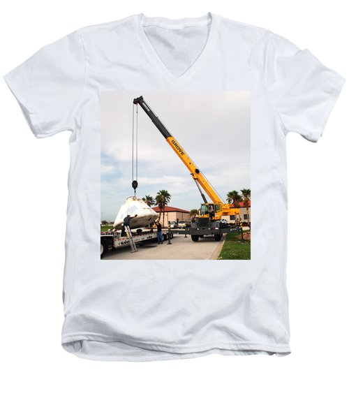Men's V-Neck T-Shirt featuring the photograph Apollo Capsule Going In For Repairs by Science Source