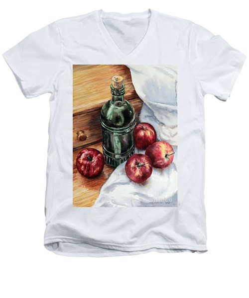 Men's V-Neck T-Shirt featuring the painting Apples And A Bottle Of Liqueur by Joey Agbayani