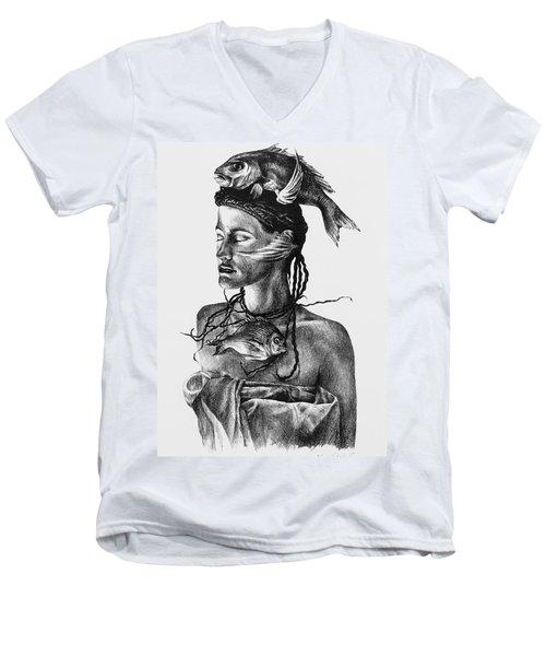 Aqua Men's V-Neck T-Shirt by Yvonne Wright
