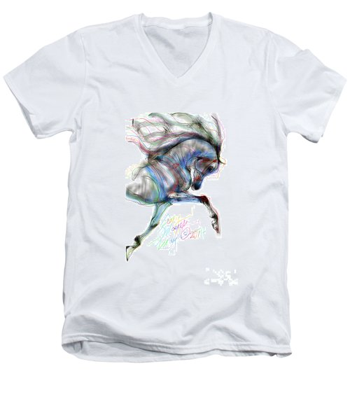 Arabian Horse Trotting In Air Men's V-Neck T-Shirt