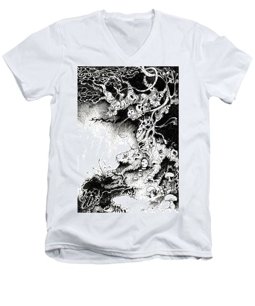 Arbol Men's V-Neck T-Shirt by Julio Lopez