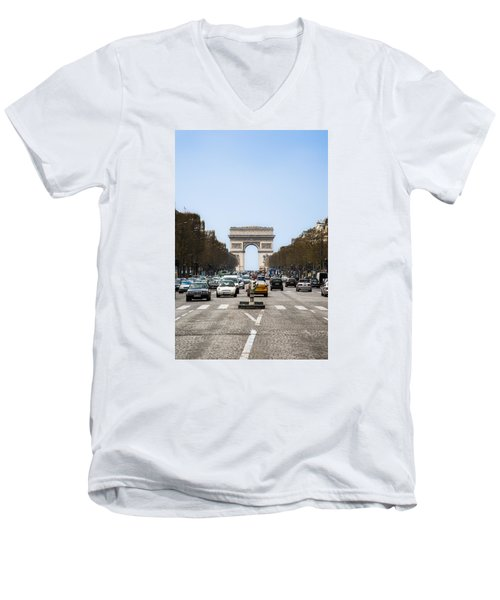 Arch Of Triumph In Paris Men's V-Neck T-Shirt