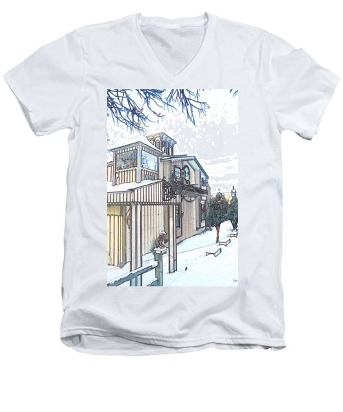 Arp Clockhouse Across From Mamasitas In Bennet Nebraska Men's V-Neck T-Shirt