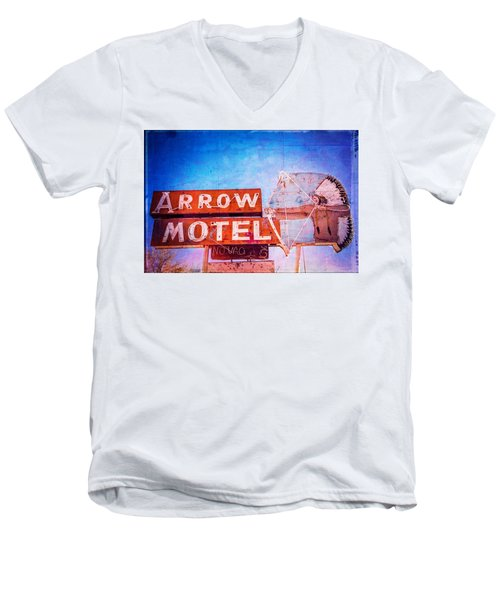 Men's V-Neck T-Shirt featuring the photograph Arrow Motel by Steven Bateson
