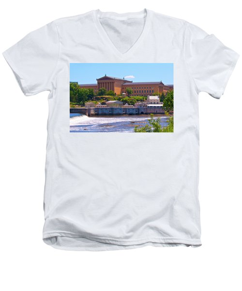 Art Museum And Fairmount Waterworks - Hdr Men's V-Neck T-Shirt