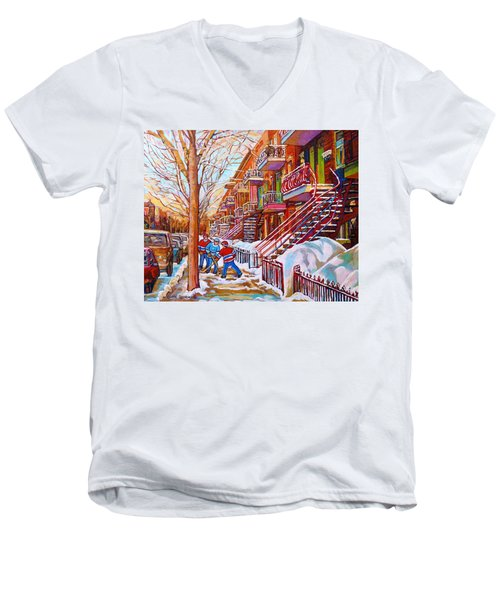 Art Of Montreal Staircases In Winter Street Hockey Game City Streetscenes By Carole Spandau Men's V-Neck T-Shirt