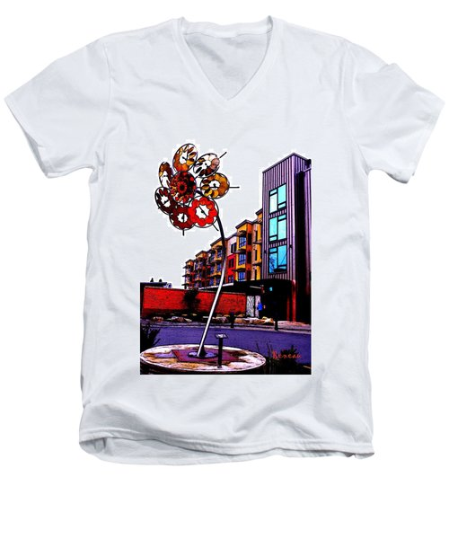Men's V-Neck T-Shirt featuring the photograph Art On The Ave by Sadie Reneau