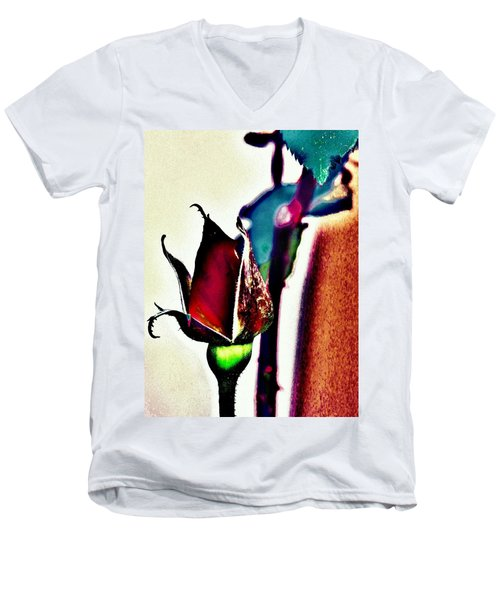 Men's V-Neck T-Shirt featuring the photograph Artful Bud by Faith Williams