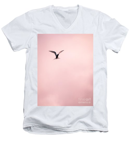 Men's V-Neck T-Shirt featuring the photograph Artic Tern High In The Sky by Peta Thames