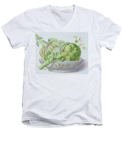 Artichokes Men's V-Neck T-Shirt by Lizzie Riches