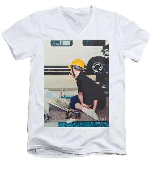 Men's V-Neck T-Shirt featuring the painting Artist At 16 Yrs Old by Donald J Ryker III