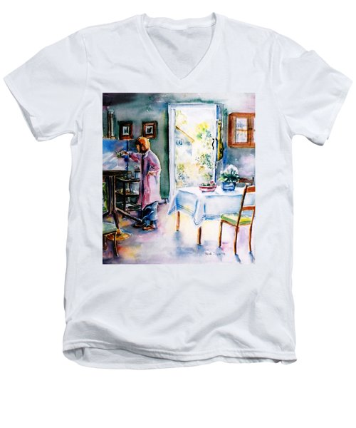 Artist At Work In Summer  Men's V-Neck T-Shirt