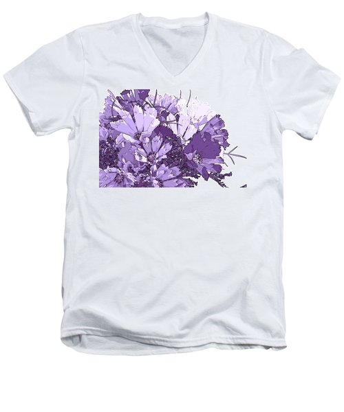 Men's V-Neck T-Shirt featuring the photograph Artsy Purple Cosmos by Sandra Foster