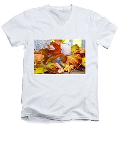 Maple Leaves Candles And Crystal Men's V-Neck T-Shirt by Anna Porter