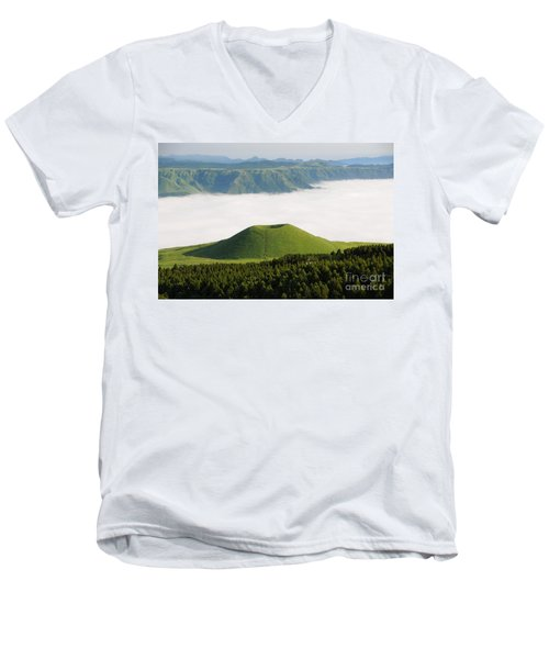 Men's V-Neck T-Shirt featuring the photograph Aso Komezuka Sea Of Clouds Cloud Kumamoto Japan by Paul Fearn