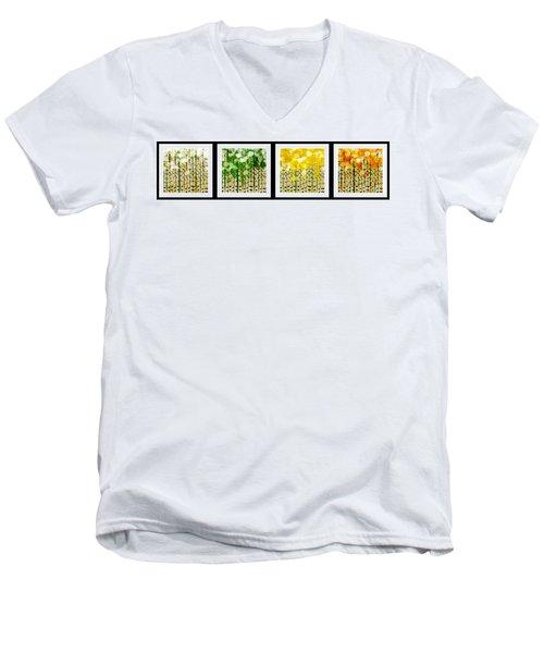 Aspen Colorado Abstract Horizontal 4 In 1 Collection Men's V-Neck T-Shirt