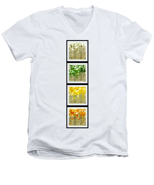 Aspen Colorado Abstract Vertical 4 In 1 Collection Men's V-Neck T-Shirt